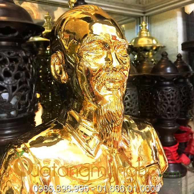 tượng bác hồ bằng đồng mạ vàng 24k 9999