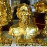 Tượng bác hồ bằng đồng 20cm mạ vàng