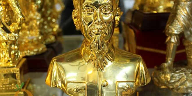 tượng bác hồ bán thân bằng đồng 20cm mạ vàng