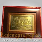 Tranh quà tặng mỹ nghệ đúc đồng chùa 1 cột 20x26cm