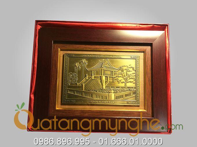 Tranh quà tặng mỹ nghệ đúc đồng chùa 1 cột 20x26cm0