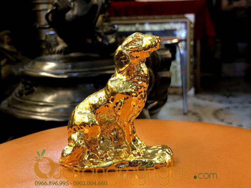Tượng chó đồng cao 7cm mạ vàng làm quà lưu niệm0