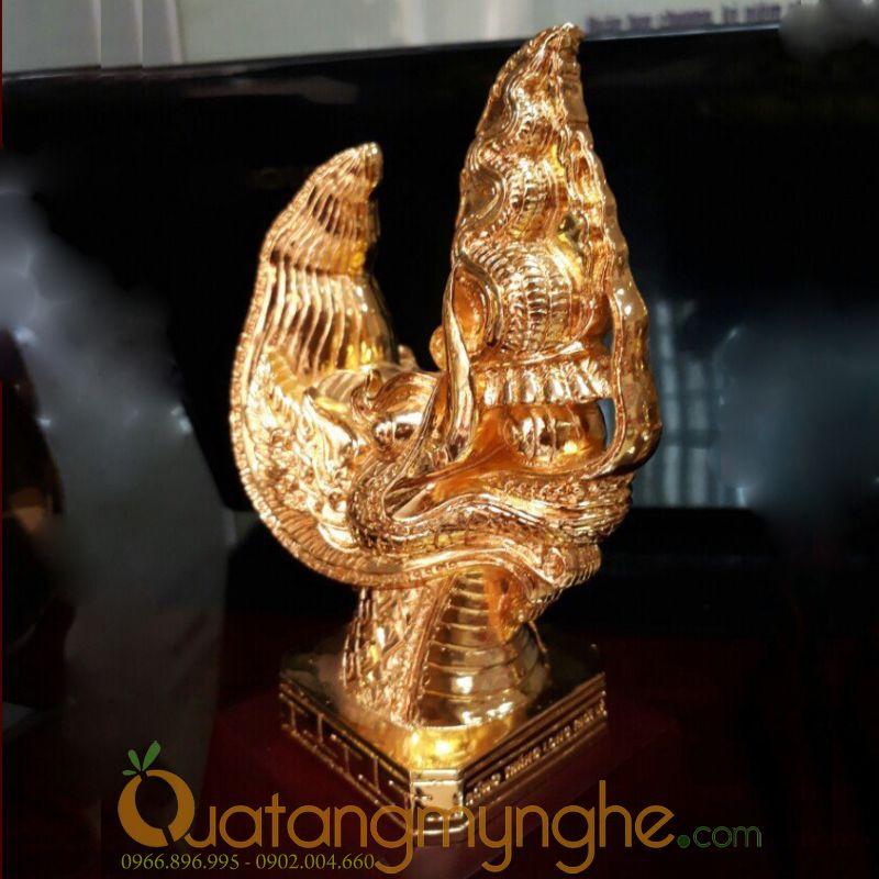 biểu tượng đầu rồng thời lý bằng đồng mạ vàng