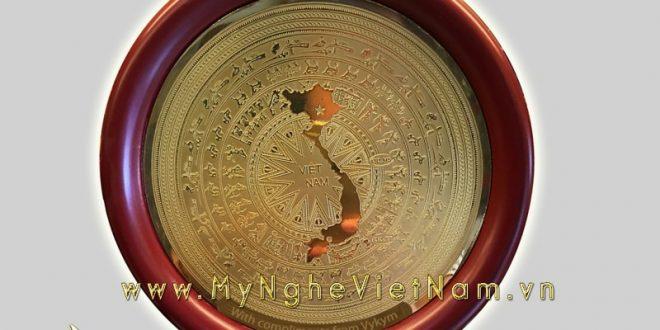 đĩa quà tặng mặt trống đồng bản đồ việt nam 18cm 23cm