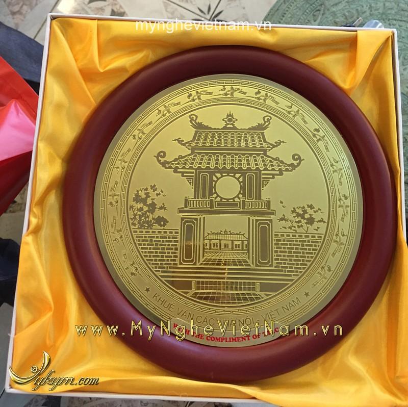 đĩa đồng khuê văn các khắc ăn mòn 18cm 23cm0