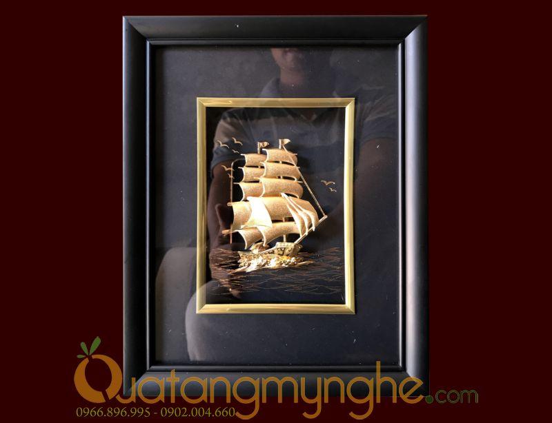Tranh thuyền buồm dát vàng lá 24k cao cấp0