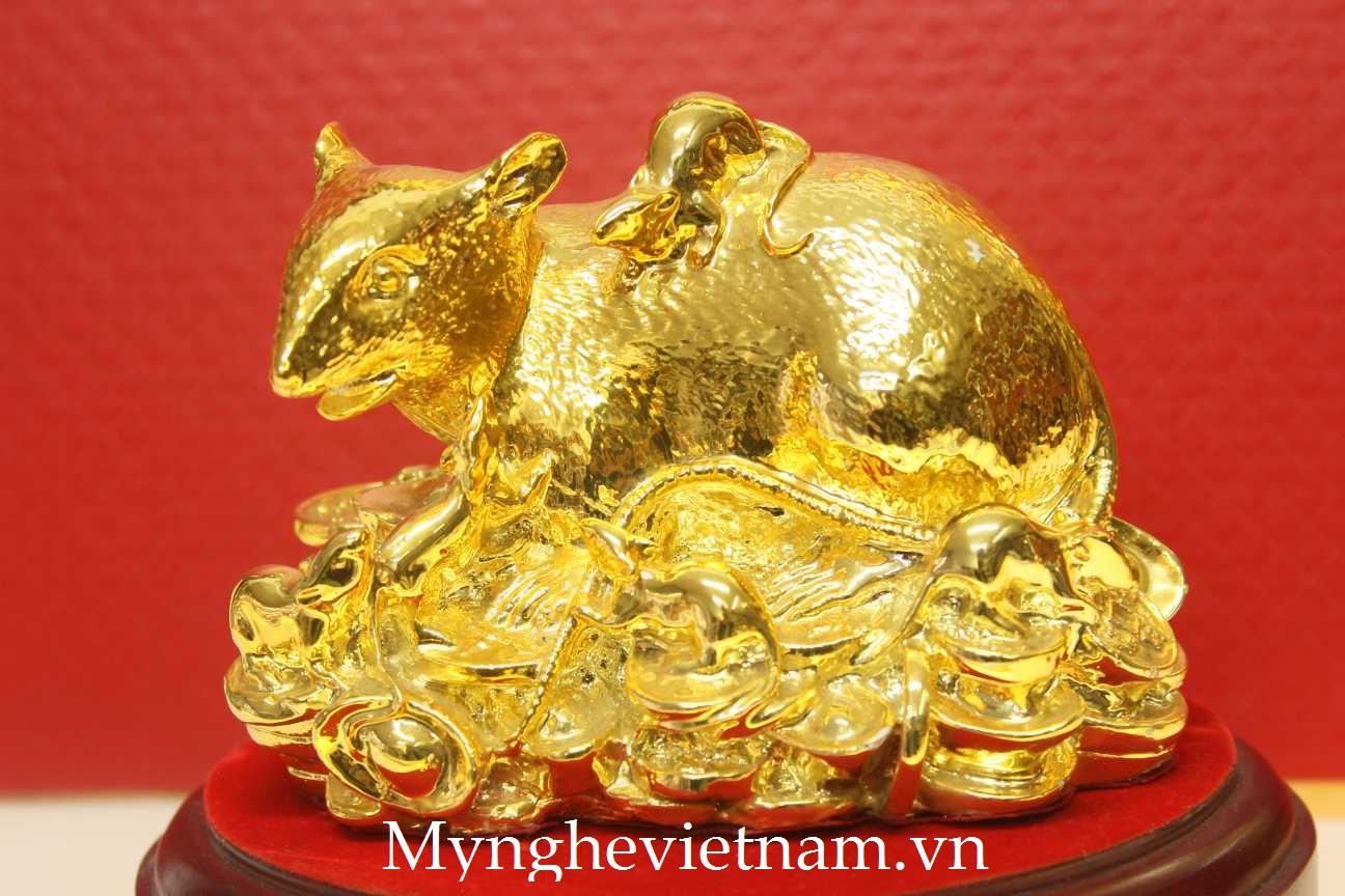 Chuột đàn đúc đồng mạ vàng cao cấp0